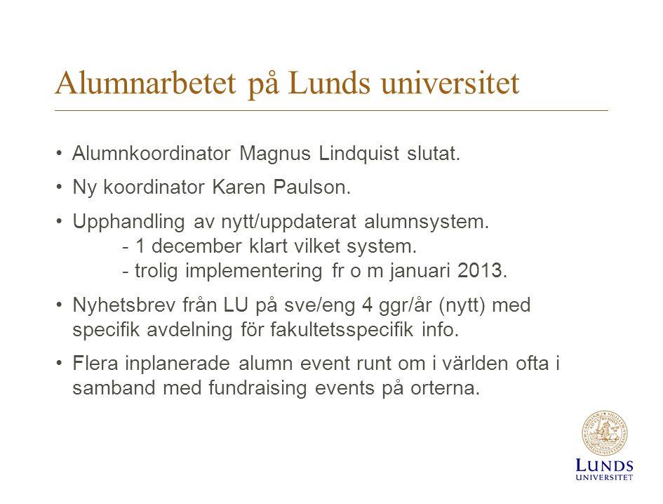 Alumnarbetet på Lunds universitet Alumnkoordinator Magnus Lindquist slutat.
