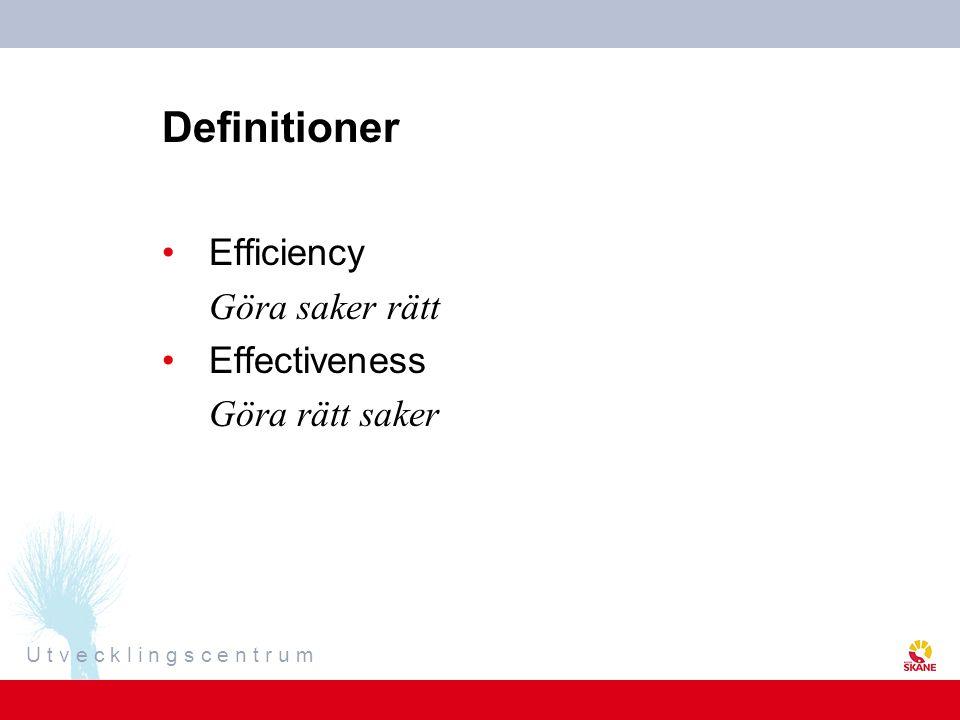 U t v e c k l i n g s c e n t r u m Definitioner Efficiency Göra saker rätt Effectiveness Göra rätt saker
