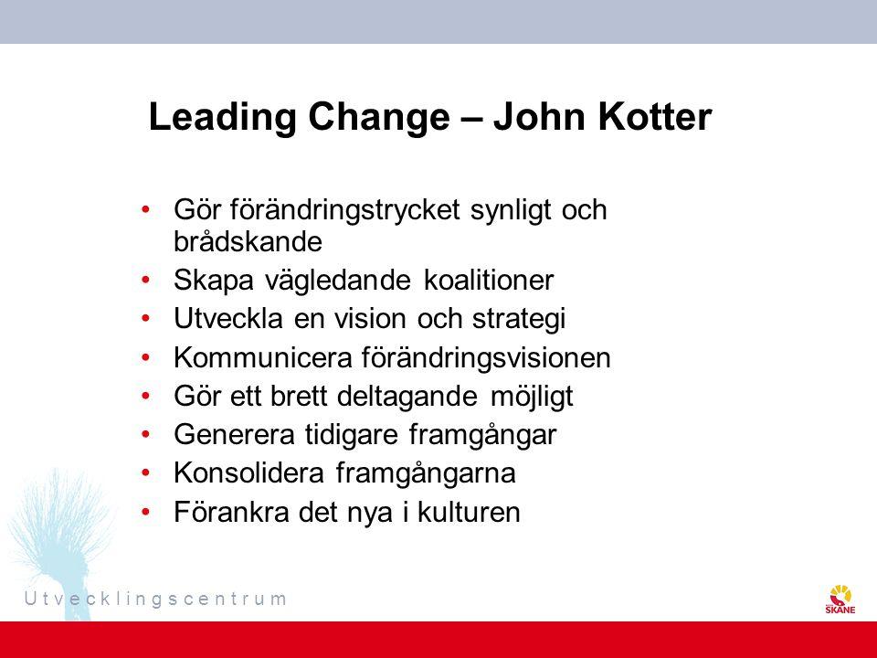U t v e c k l i n g s c e n t r u m Leading Change – John Kotter Gör förändringstrycket synligt och brådskande Skapa vägledande koalitioner Utveckla e