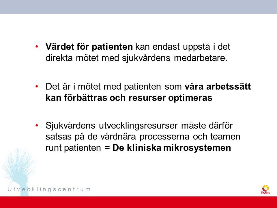 U t v e c k l i n g s c e n t r u m Värdet för patienten kan endast uppstå i det direkta mötet med sjukvårdens medarbetare. Det är i mötet med patient