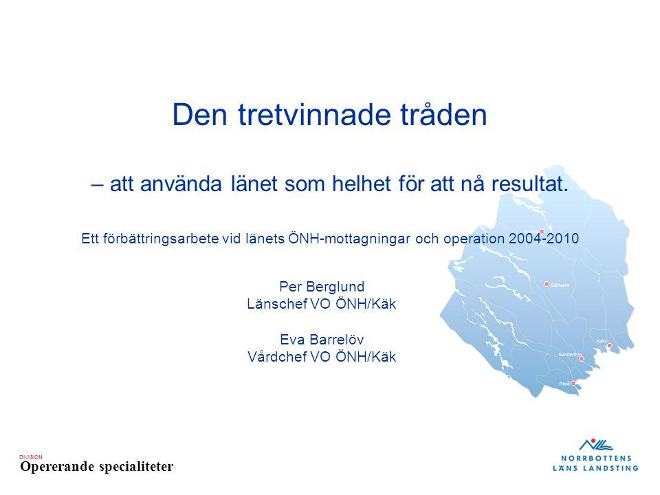 DIVISION Opererande specialiteter Den tretvinnade tråden – att använda länet som helhet för att nå resultat. Ett förbättringsarbete vid länets ÖNH-mot