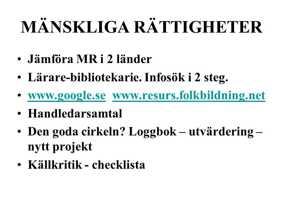 MÄNSKLIGA RÄTTIGHETER Jämföra MR i 2 länder Lärare-bibliotekarie.