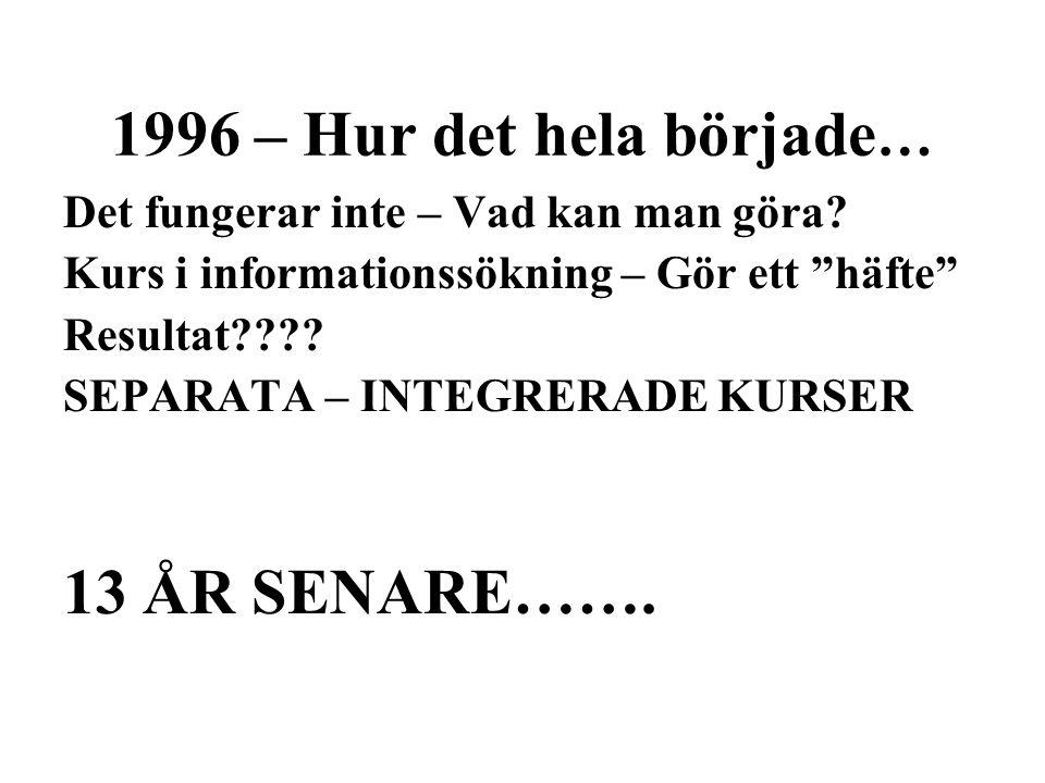 1996 – Hur det hela började … Det fungerar inte – Vad kan man göra.