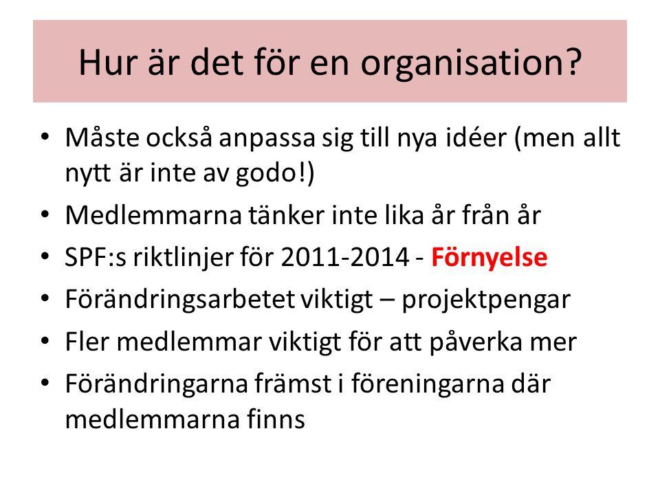 Hur är det för en organisation? Måste också anpassa sig till nya idéer (men allt nytt är inte av godo!) Medlemmarna tänker inte lika år från år SPF:s
