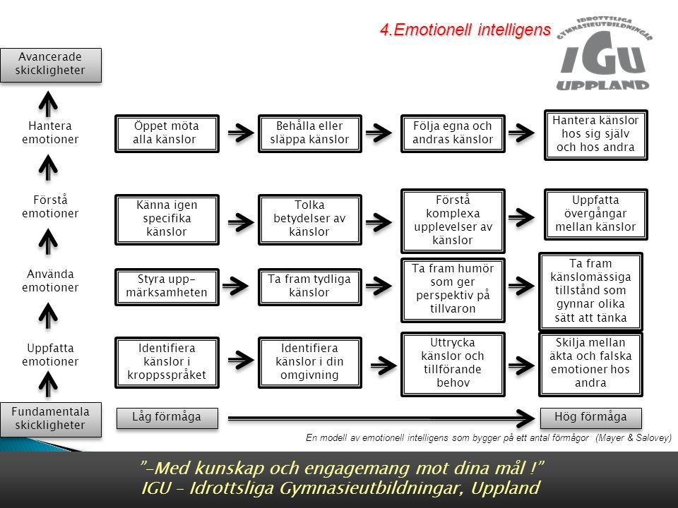 En modell av emotionell intelligens som bygger på ett antal förmågor (Mayer & Salovey) Fundamentala skickligheter Fundamentala skickligheter Avancerade skickligheter Avancerade skickligheter Använda emotioner Uppfatta emotioner Förstå emotioner Hantera emotioner Låg förmåga Hög förmåga Öppet möta alla känslor Känna igen specifika känslor Uppfatta övergångar mellan känslor Tolka betydelser av känslor Förstå komplexa upplevelser av känslor Ta fram känslomässiga tillstånd som gynnar olika sätt att tänka Ta fram humör som ger perspektiv på tillvaron Ta fram tydliga känslor Styra upp- märksamheten Skilja mellan äkta och falska emotioner hos andra Uttrycka känslor och tillförande behov Identifiera känslor i din omgivning Identifiera känslor i kroppsspråket Behålla eller släppa känslor Hantera känslor hos sig själv och hos andra Följa egna och andras känslor -Med kunskap och engagemang mot dina mål ! IGU – Idrottsliga Gymnasieutbildningar, Uppland 4.Emotionell intelligens