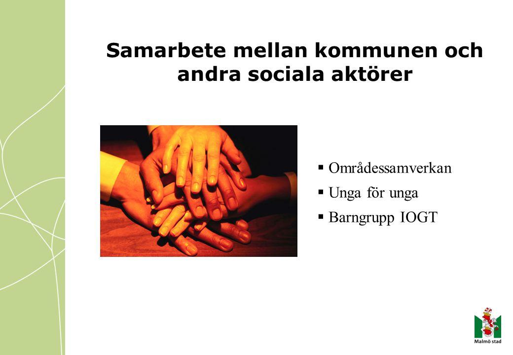  Områdessamverkan  Unga för unga  Barngrupp IOGT Samarbete mellan kommunen och andra sociala aktörer