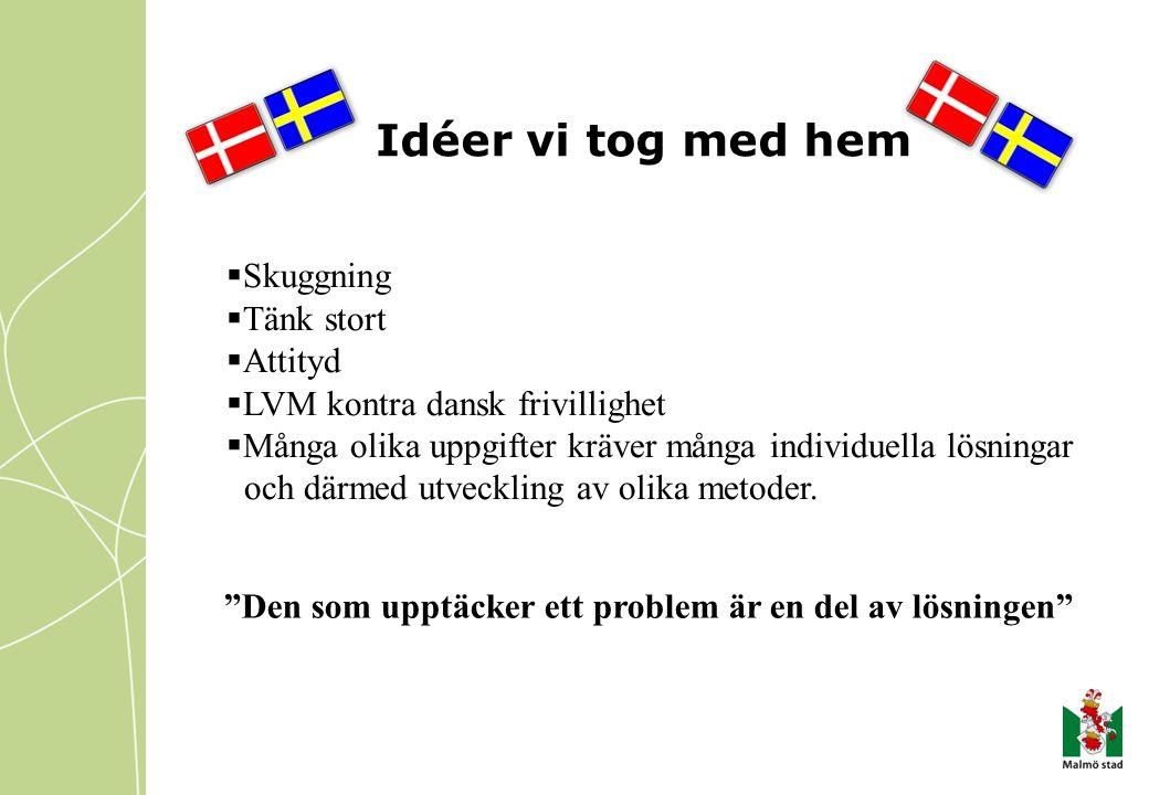 Idéer vi tog med hem  Skuggning  Tänk stort  Attityd  LVM kontra dansk frivillighet  Många olika uppgifter kräver många individuella lösningar oc