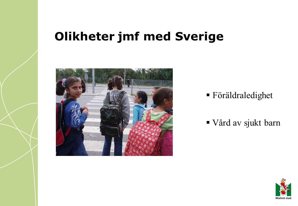 Olikheter jmf med Sverige  Föräldraledighet  Vård av sjukt barn