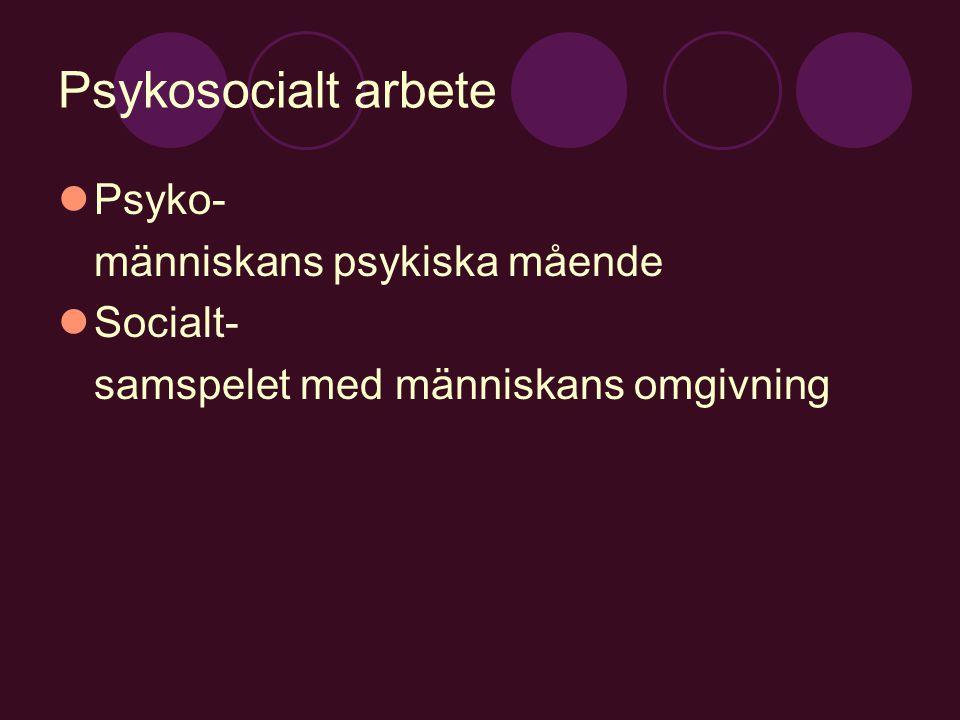 Psykosocialt arbete Psyko- människans psykiska mående Socialt- samspelet med människans omgivning