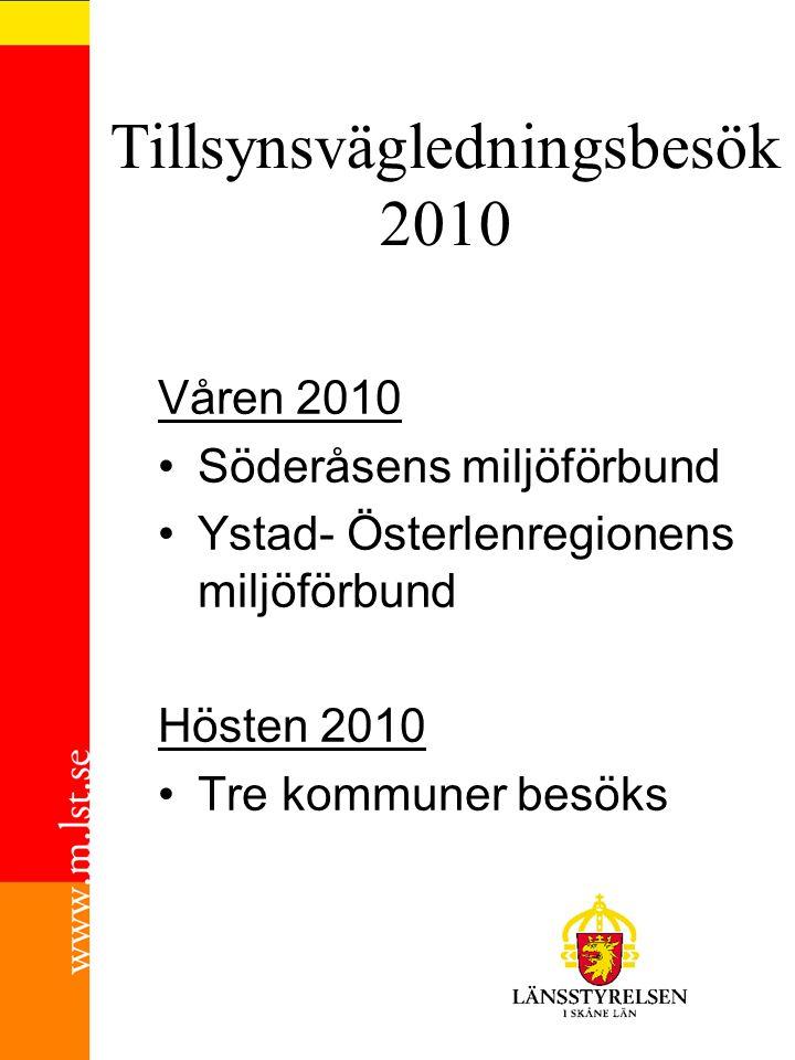 Tillsynsvägledningsbesök 2010 Våren 2010 Söderåsens miljöförbund Ystad- Österlenregionens miljöförbund Hösten 2010 Tre kommuner besöks