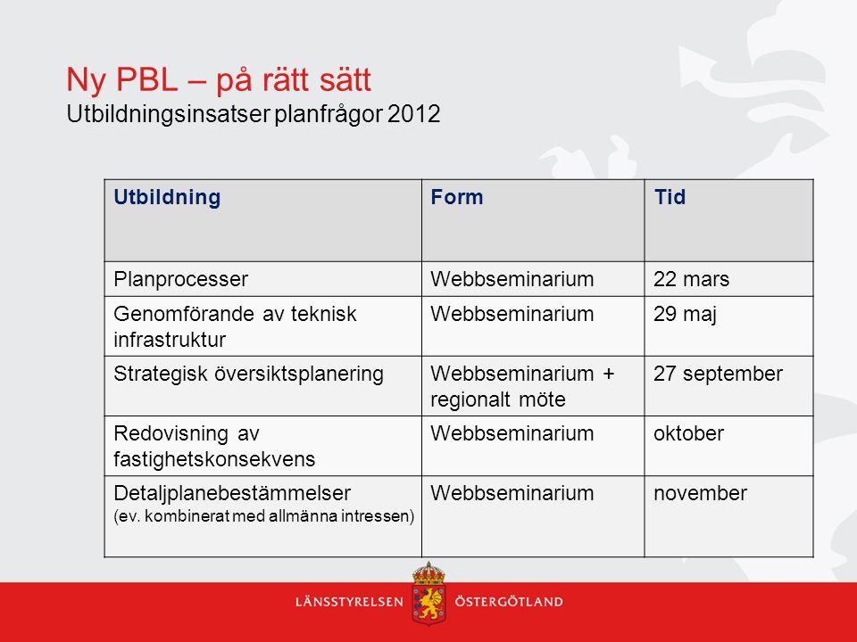Ny PBL – på rätt sätt Utbildningsinsatser planfrågor 2012 UtbildningFormTid PlanprocesserWebbseminarium22 mars Genomförande av teknisk infrastruktur W