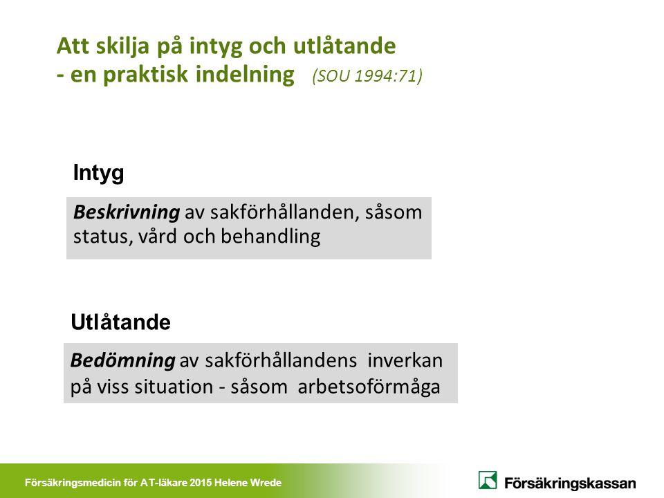 Försäkringsmedicin för AT-läkare 2015 Helene Wrede Att skilja på intyg och utlåtande - en praktisk indelning (SOU 1994:71) Beskrivning av sakförhållan