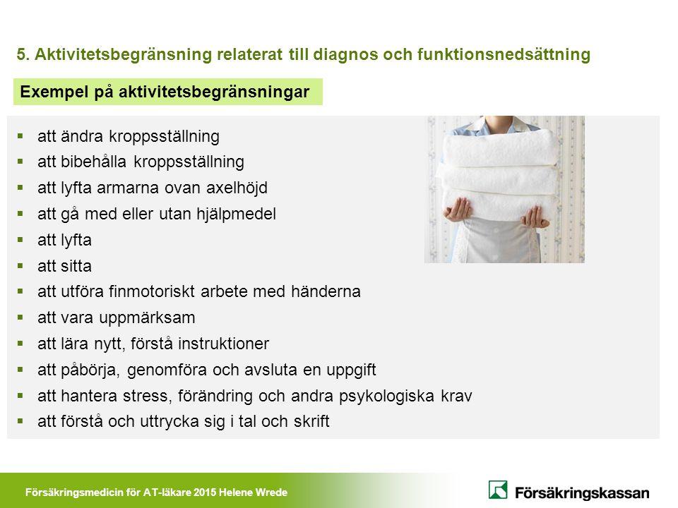 Försäkringsmedicin för AT-läkare 2015 Helene Wrede 5. Aktivitetsbegränsning relaterat till diagnos och funktionsnedsättning  att ändra kroppsställnin