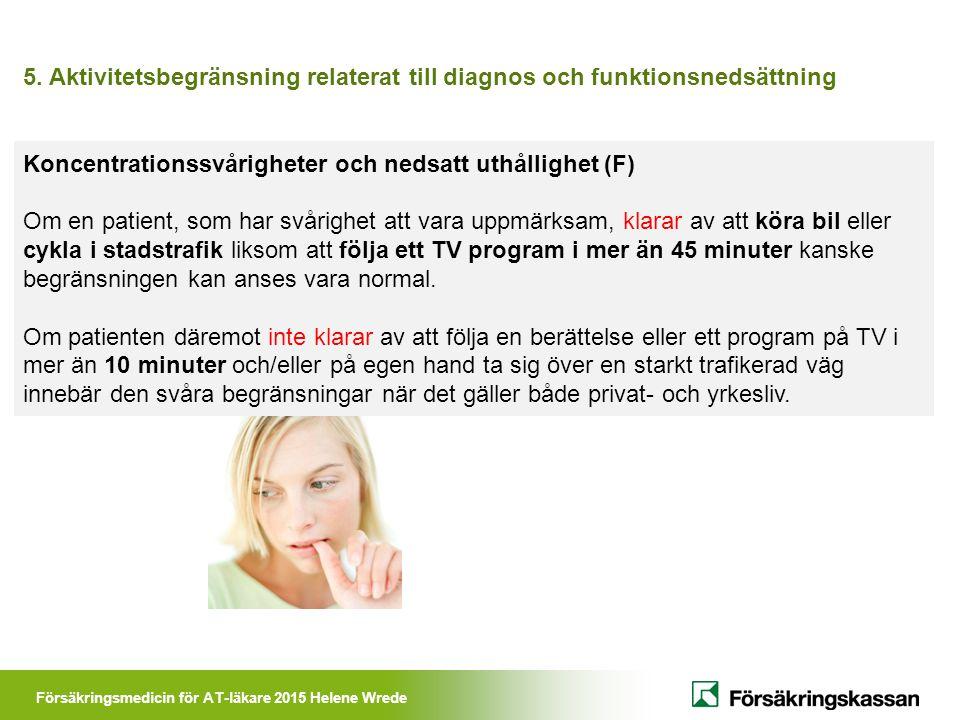 Försäkringsmedicin för AT-läkare 2015 Helene Wrede 5. Aktivitetsbegränsning relaterat till diagnos och funktionsnedsättning Koncentrationssvårigheter