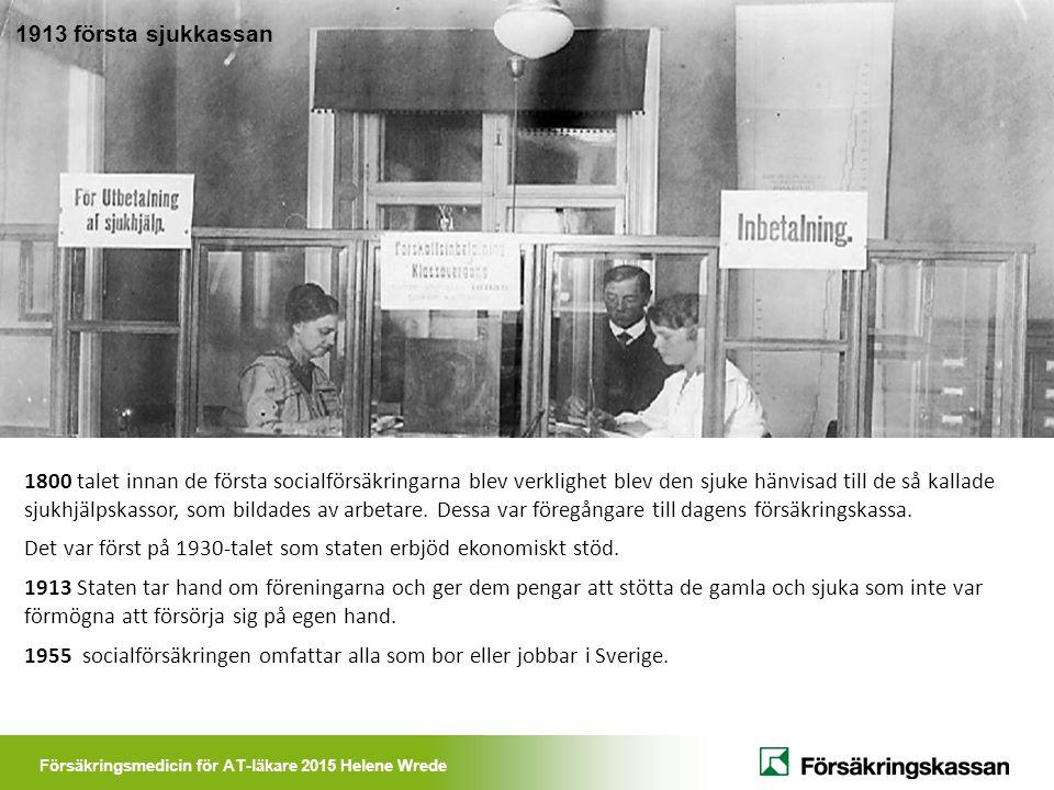 Försäkringsmedicin för AT-läkare 2015 Helene Wrede 1800 talet innan de första socialförsäkringarna blev verklighet blev den sjuke hänvisad till de så