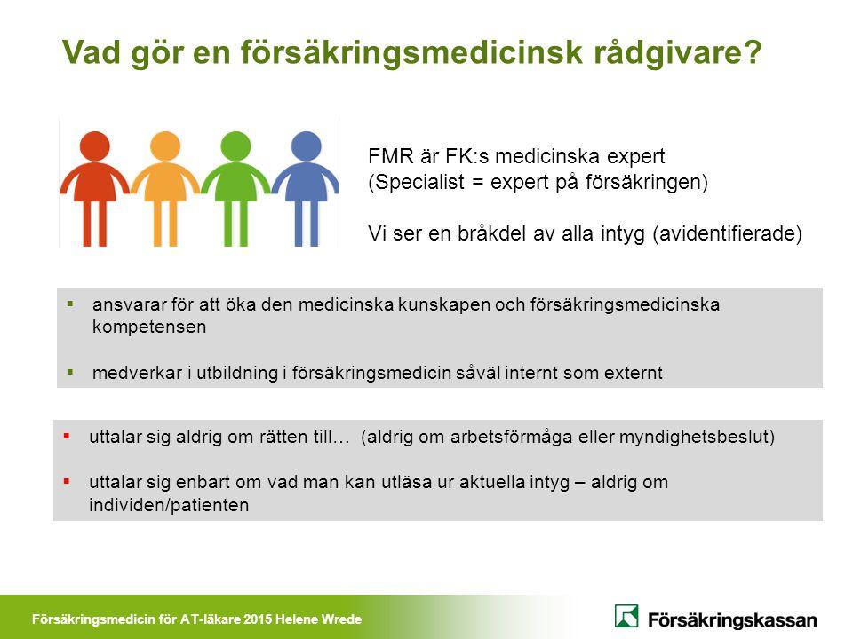 Försäkringsmedicin för AT-läkare 2015 Helene Wrede Vad gör en försäkringsmedicinsk rådgivare?  ansvarar för att öka den medicinska kunskapen och förs