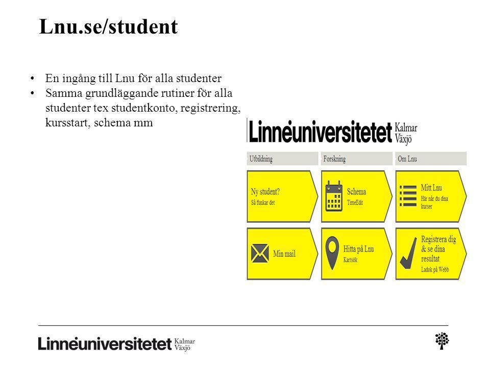 Lnu.se/student En ingång till Lnu för alla studenter Samma grundläggande rutiner för alla studenter tex studentkonto, registrering, kursstart, schema mm