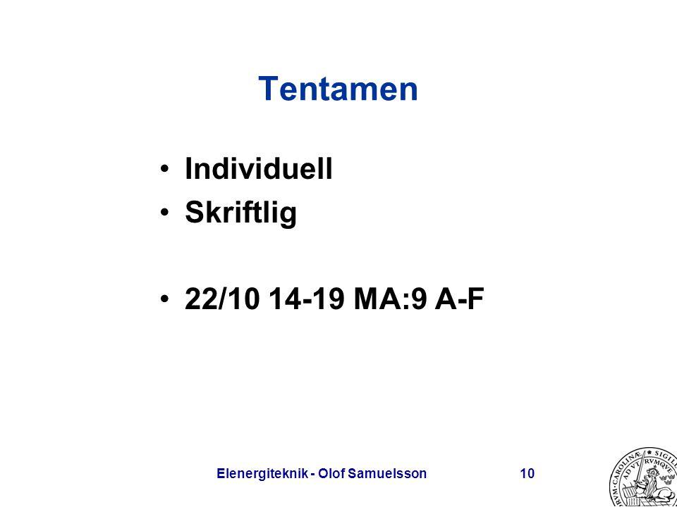 Elenergiteknik - Olof Samuelsson10 Tentamen Individuell Skriftlig 22/10 14-19 MA:9 A-F