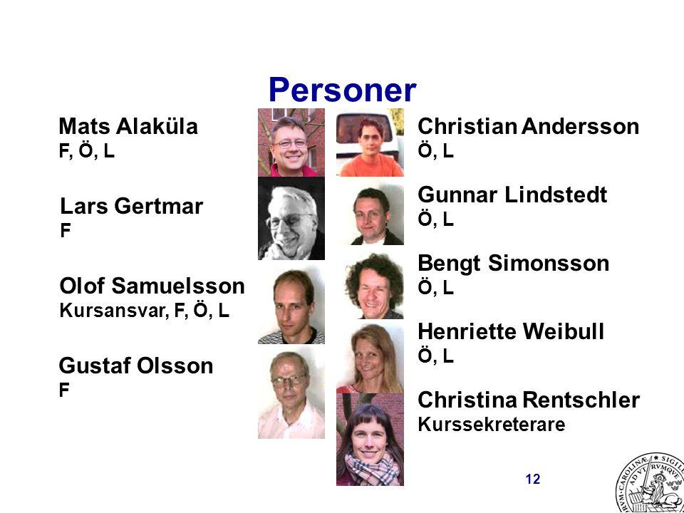 12 Personer Mats Alaküla F, Ö, L Lars Gertmar F Olof Samuelsson Kursansvar, F, Ö, L Gustaf Olsson F Christian Andersson Ö, L Gunnar Lindstedt Ö, L Ben