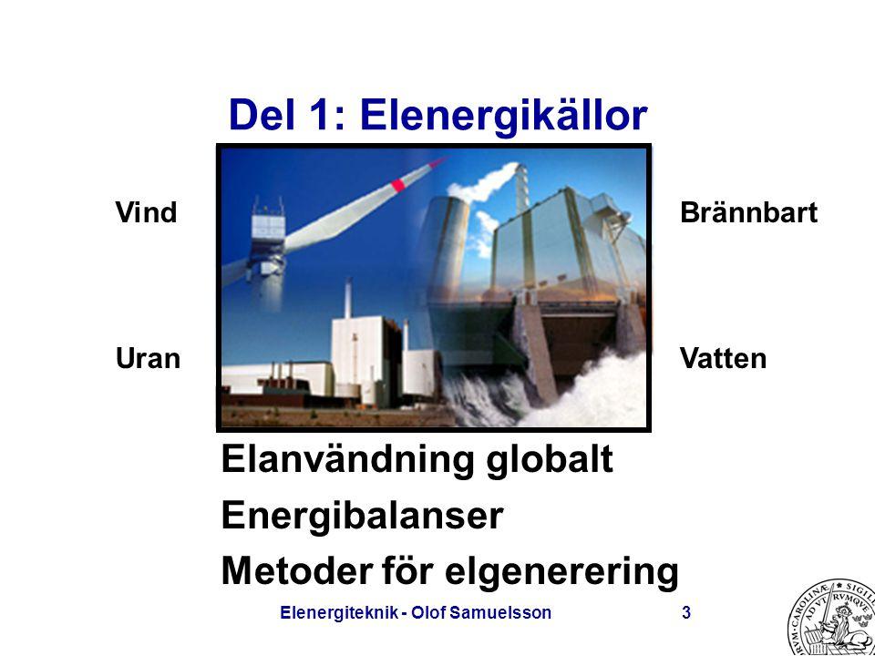 Elenergiteknik - Olof Samuelsson3 Del 1: Elenergikällor Elanvändning globalt Energibalanser Metoder för elgenerering Vind Uran Brännbart Vatten