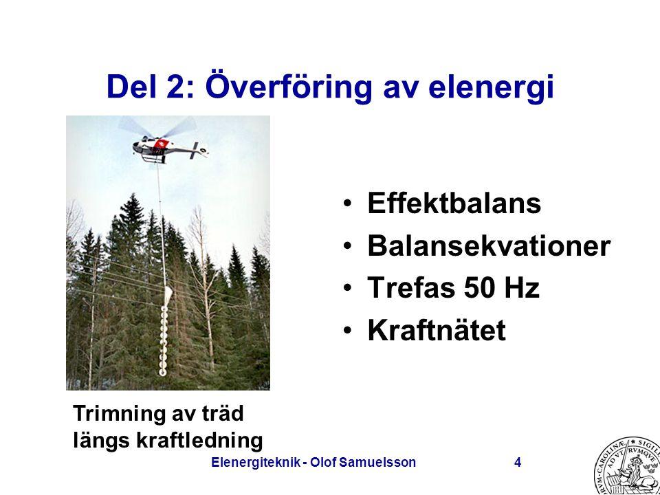 Elenergiteknik - Olof Samuelsson4 Del 2: Överföring av elenergi Effektbalans Balansekvationer Trefas 50 Hz Kraftnätet Trimning av träd längs kraftledn