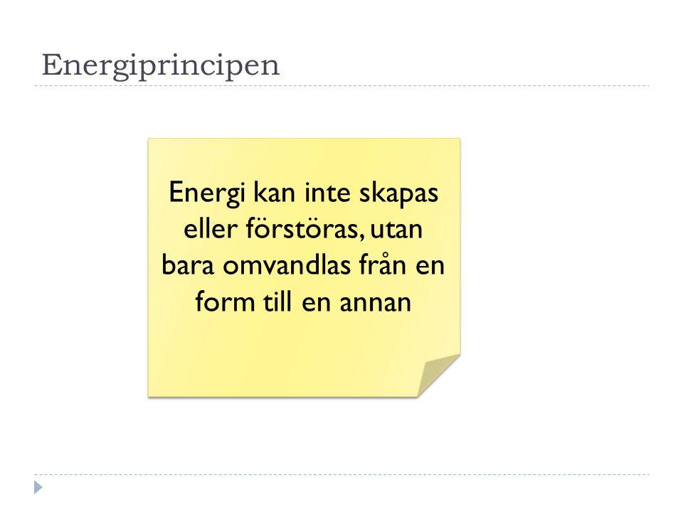 Energiprincipen Energi kan inte skapas eller förstöras, utan bara omvandlas från en form till en annan