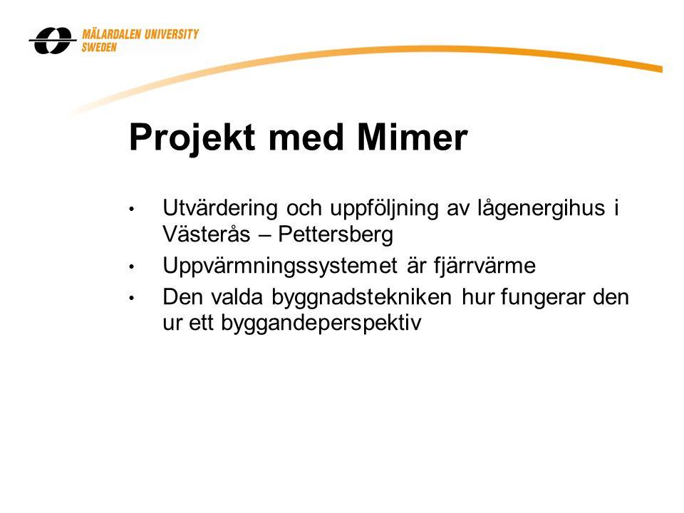 Projekt med Mimer Utvärdering och uppföljning av lågenergihus i Västerås – Pettersberg Uppvärmningssystemet är fjärrvärme Den valda byggnadstekniken h