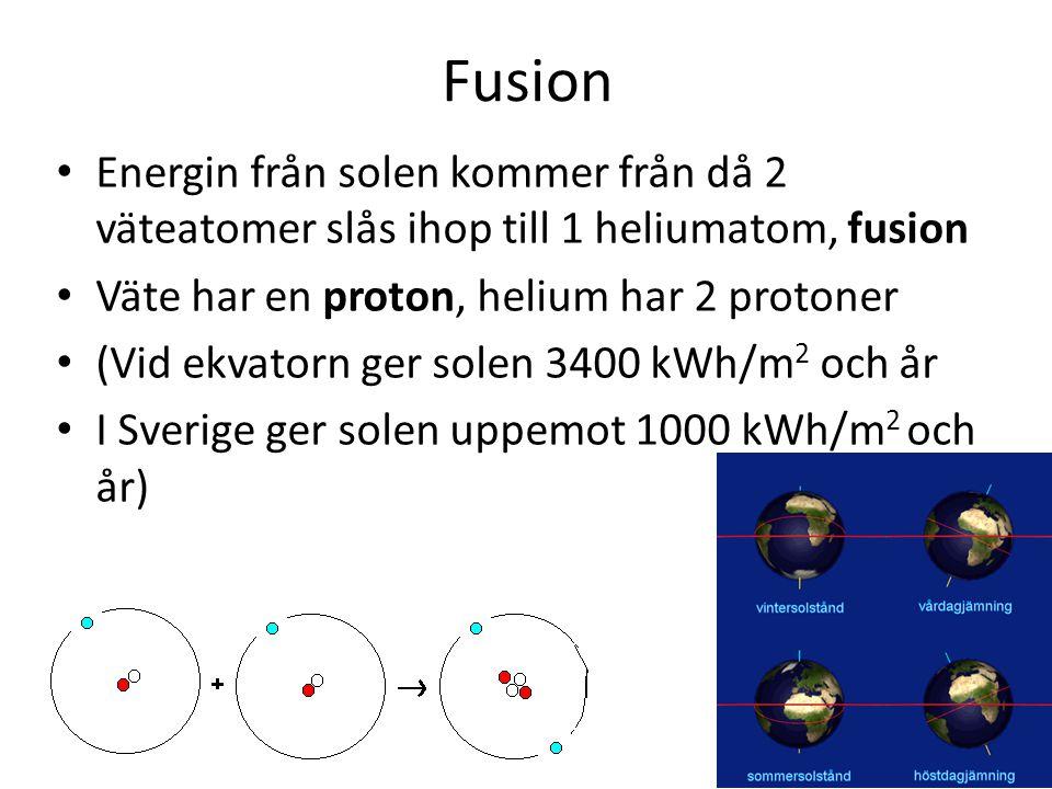 Fusion Energin från solen kommer från då 2 väteatomer slås ihop till 1 heliumatom, fusion Väte har en proton, helium har 2 protoner (Vid ekvatorn ger