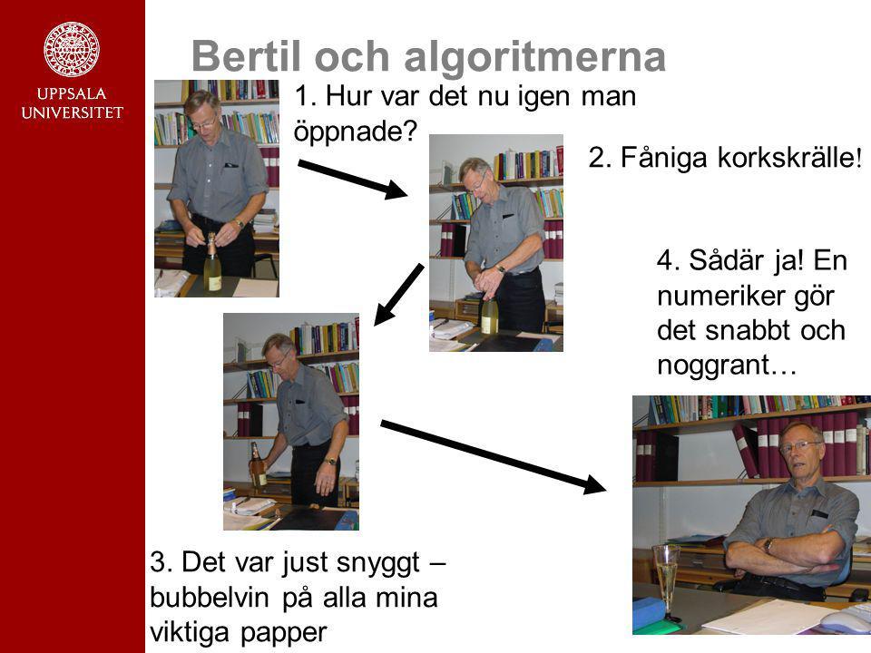 10 Bertil och algoritmerna 1. Hur var det nu igen man öppnade? 2. Fåniga korkskrälle ! 3. Det var just snyggt – bubbelvin på alla mina viktiga papper