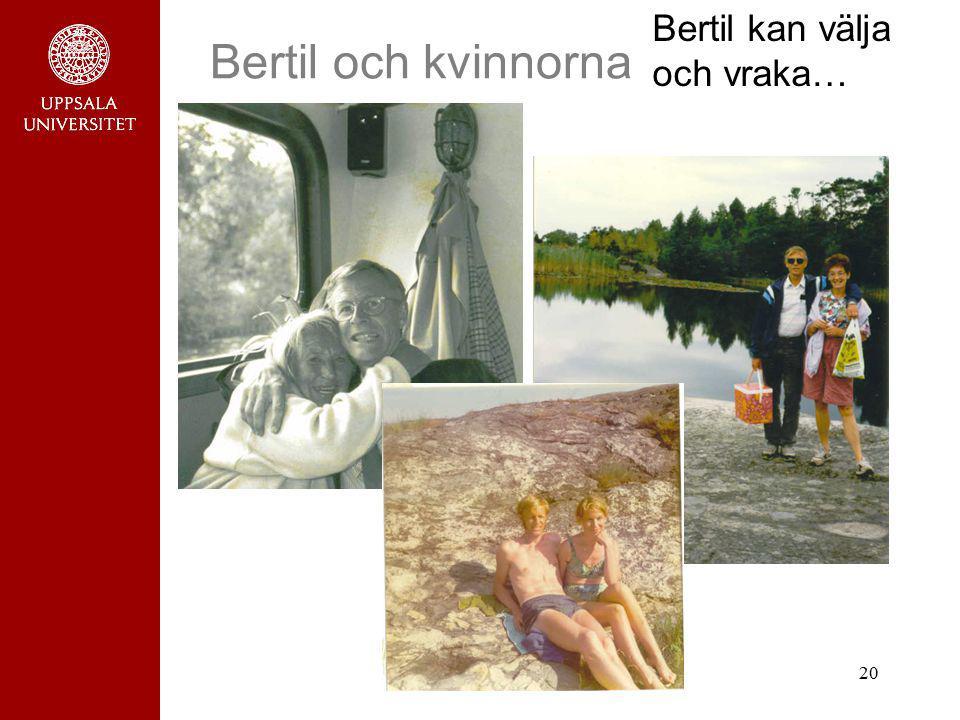 20 Bertil och kvinnorna Bertil kan välja och vraka…
