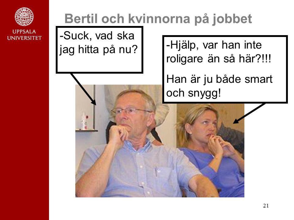 21 Bertil och kvinnorna på jobbet -Hjälp, var han inte roligare än så här?!!! Han är ju både smart och snygg! -Suck, vad ska jag hitta på nu?