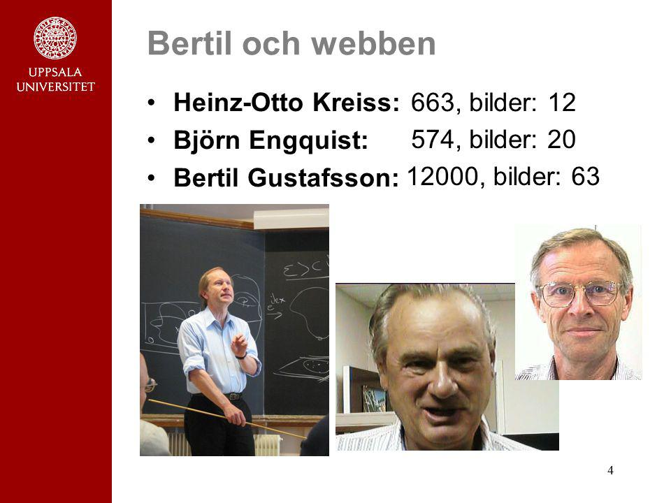 4 Bertil och webben Heinz-Otto Kreiss: Björn Engquist: Bertil Gustafsson: 663, bilder: 12 574, bilder: 20 12000, bilder: 63