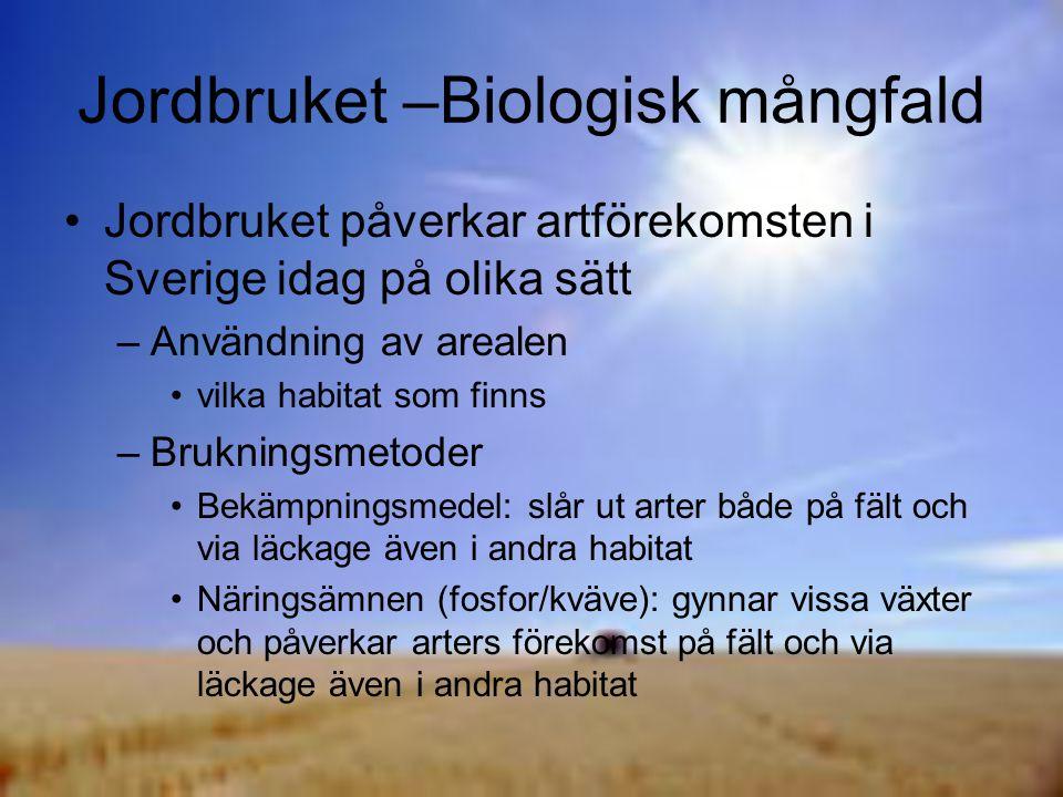 Jordbruket –Biologisk mångfald Jordbruket påverkar artförekomsten i Sverige idag på olika sätt –Användning av arealen vilka habitat som finns –Brukningsmetoder Bekämpningsmedel: slår ut arter både på fält och via läckage även i andra habitat Näringsämnen (fosfor/kväve): gynnar vissa växter och påverkar arters förekomst på fält och via läckage även i andra habitat