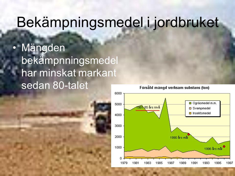 Bekämpningsmedel i jordbruket Mängden bekämpnningsmedel har minskat markant sedan 80-talet