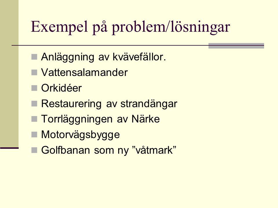 Exempel på problem/lösningar Anläggning av kvävefällor. Vattensalamander Orkidéer Restaurering av strandängar Torrläggningen av Närke Motorvägsbygge G