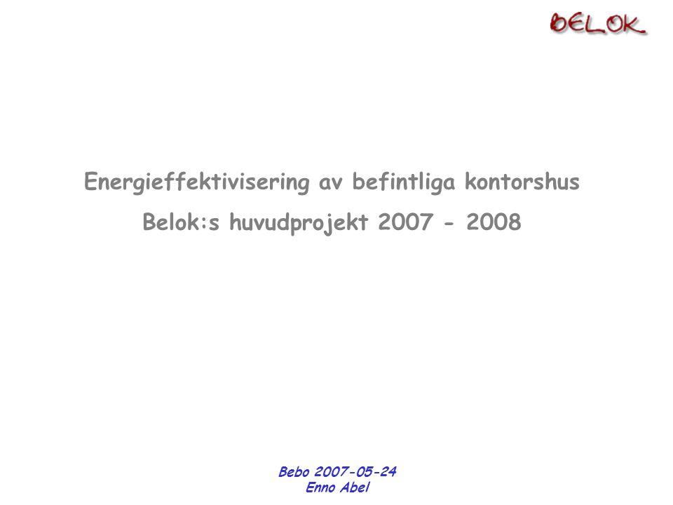 Bebo 2007-05-24 Enno Abel Energibehov kWh/(m 2 år) Energikostnad kr/år Energibesparing Besparingskostnad Vinkeln = f(kalkylräntan)