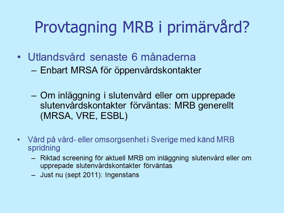 Provtagning MRB i primärvård? Utlandsvård senaste 6 månaderna –Enbart MRSA för öppenvårdskontakter –Om inläggning i slutenvård eller om upprepade slut