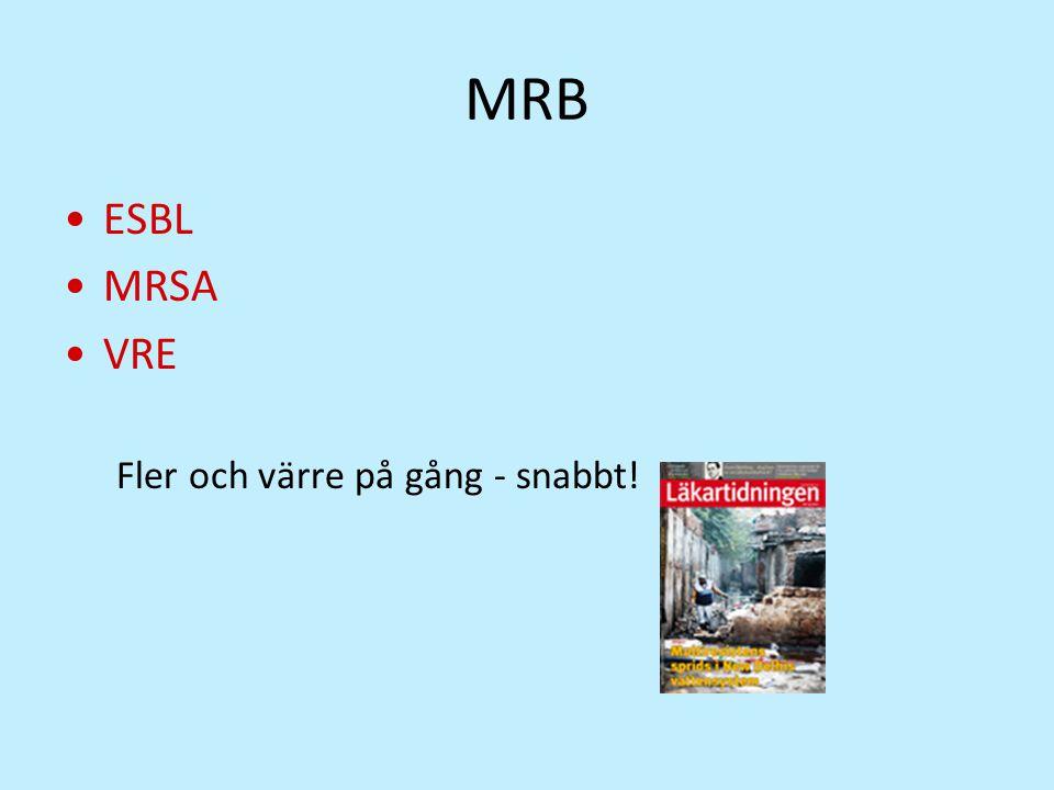 ESBL MRSA VRE Fler och värre på gång - snabbt!