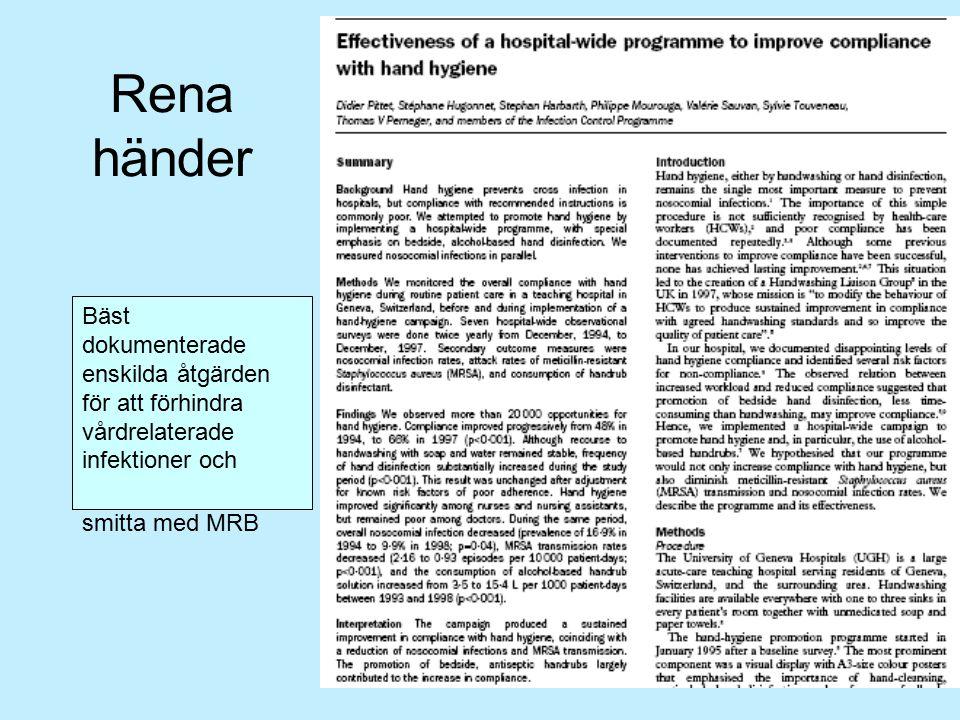 Rena händer Bäst dokumenterade enskilda åtgärden för att förhindra vårdrelaterade infektioner och smitta med MRB