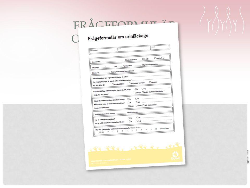 approvalnummer FRÅGEFORMULÄR OM URINLÄCKAGE