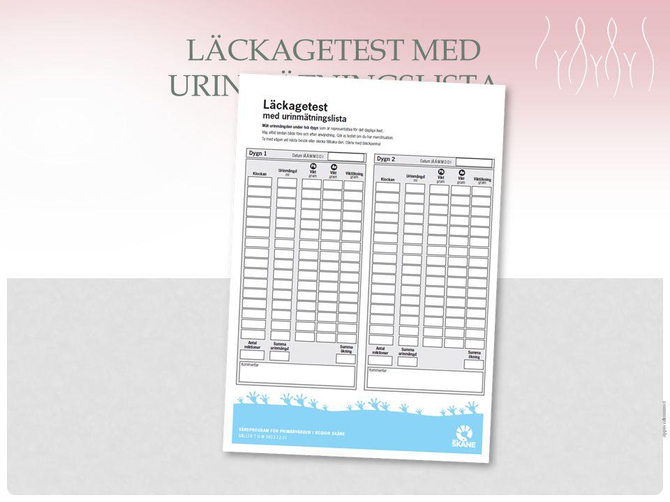 approvalnummer LÄCKAGETEST MED URINMÄTNINGSLISTA
