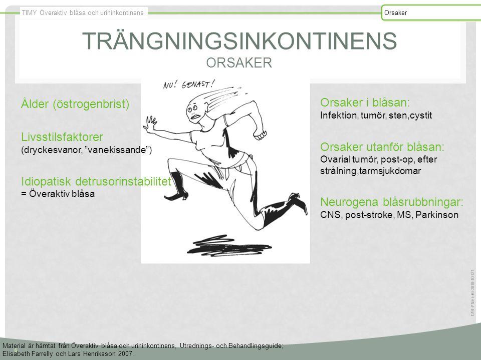 TIMY Överaktiv blåsa och urininkontinens Orsaker 6 1291-Pfizer-46-2010-10127 TRÄNGNINGSINKONTINENS ORSAKER Ålder (östrogenbrist) Livsstilsfaktorer (dr