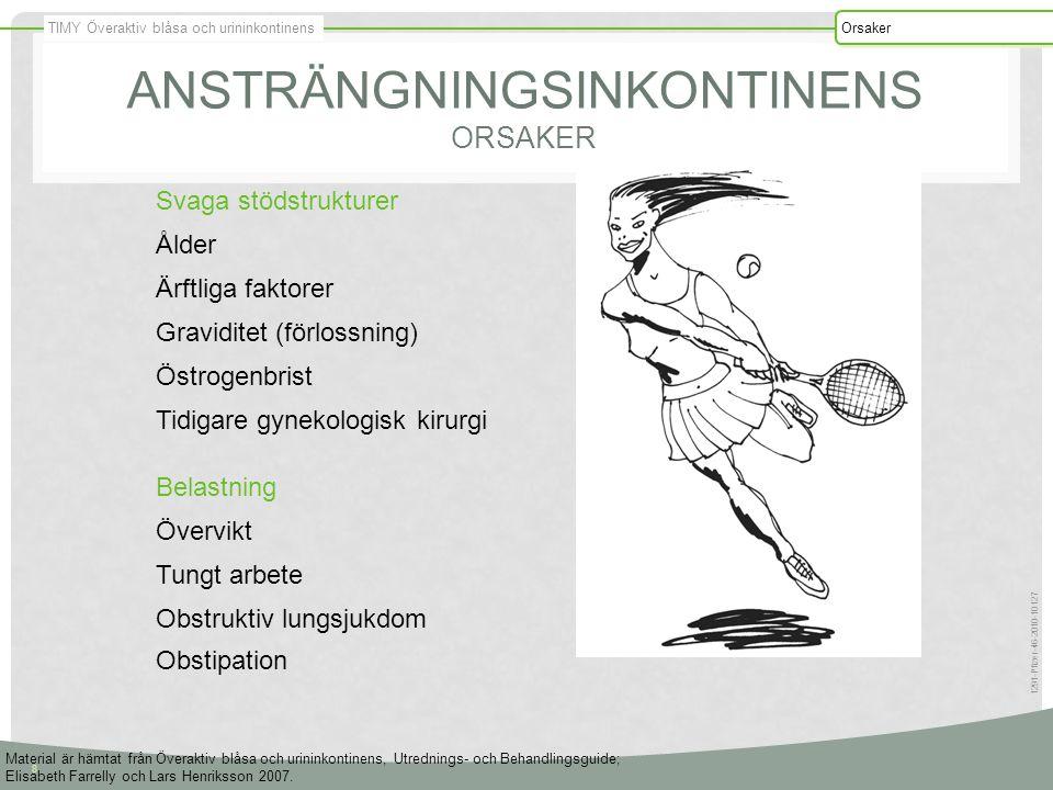 TIMY Överaktiv blåsa och urininkontinens Orsaker 8 1291-Pfizer-46-2010-10127 ANSTRÄNGNINGSINKONTINENS ORSAKER Svaga stödstrukturer Ålder Ärftliga fakt