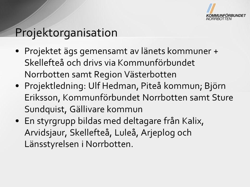 Projektet ägs gemensamt av länets kommuner + Skellefteå och drivs via Kommunförbundet Norrbotten samt Region Västerbotten Projektledning: Ulf Hedman, Piteå kommun; Björn Eriksson, Kommunförbundet Norrbotten samt Sture Sundquist, Gällivare kommun En styrgrupp bildas med deltagare från Kalix, Arvidsjaur, Skellefteå, Luleå, Arjeplog och Länsstyrelsen i Norrbotten.