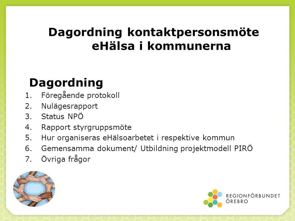 Dagordning kontaktpersonsmöte eHälsa i kommunerna Dagordning 1. Föregående protokoll 2. Nulägesrapport 3. Status NPÖ 4. Rapport styrgruppsmöte 5. Hur