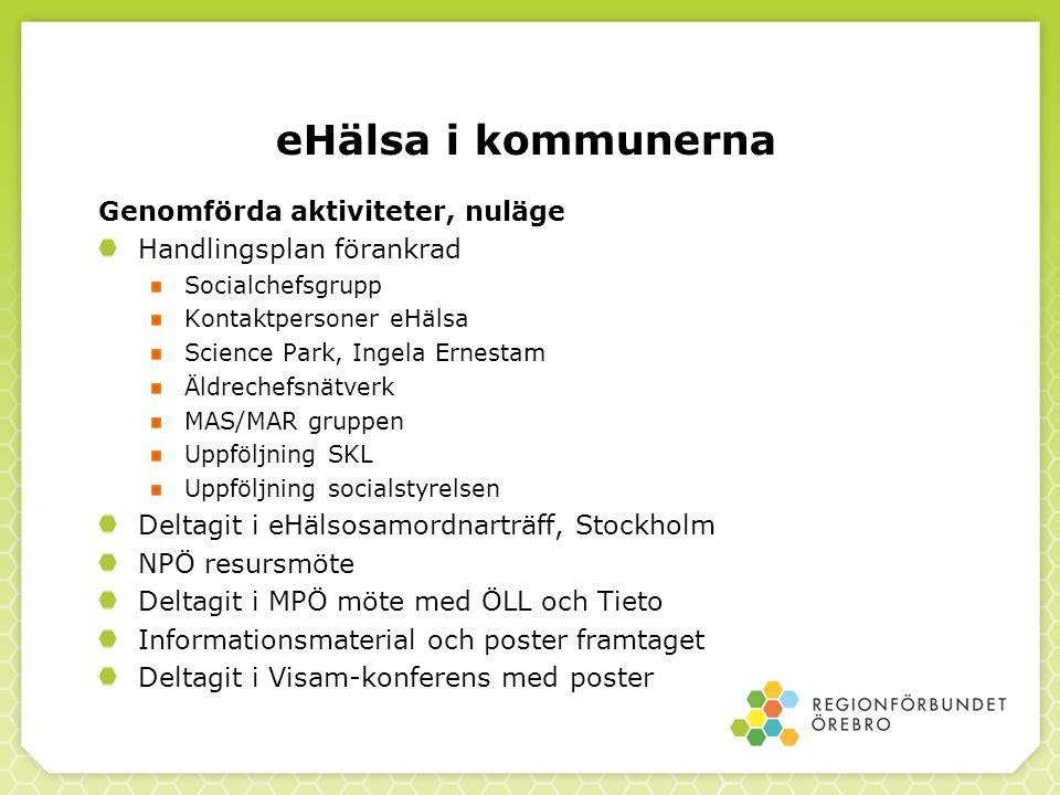 eHälsa i kommunerna Genomförda aktiviteter, nuläge Handlingsplan förankrad Socialchefsgrupp Kontaktpersoner eHälsa Science Park, Ingela Ernestam Äldre