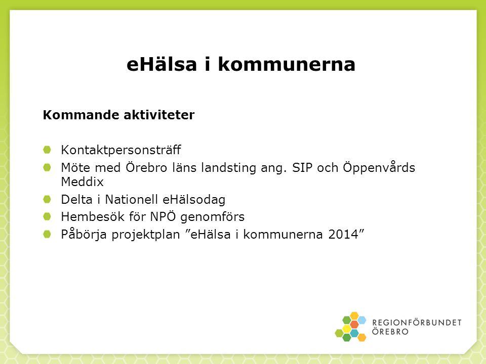 eHälsa i kommunerna Kommande aktiviteter Kontaktpersonsträff Möte med Örebro läns landsting ang. SIP och Öppenvårds Meddix Delta i Nationell eHälsodag
