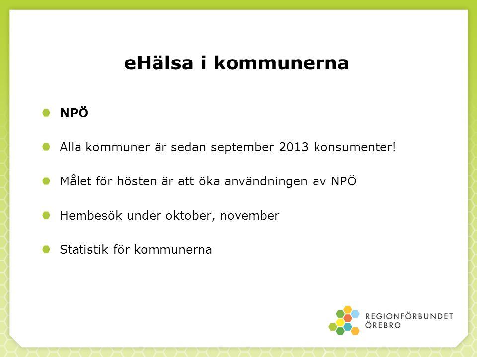eHälsa i kommunerna NPÖ Alla kommuner är sedan september 2013 konsumenter! Målet för hösten är att öka användningen av NPÖ Hembesök under oktober, nov