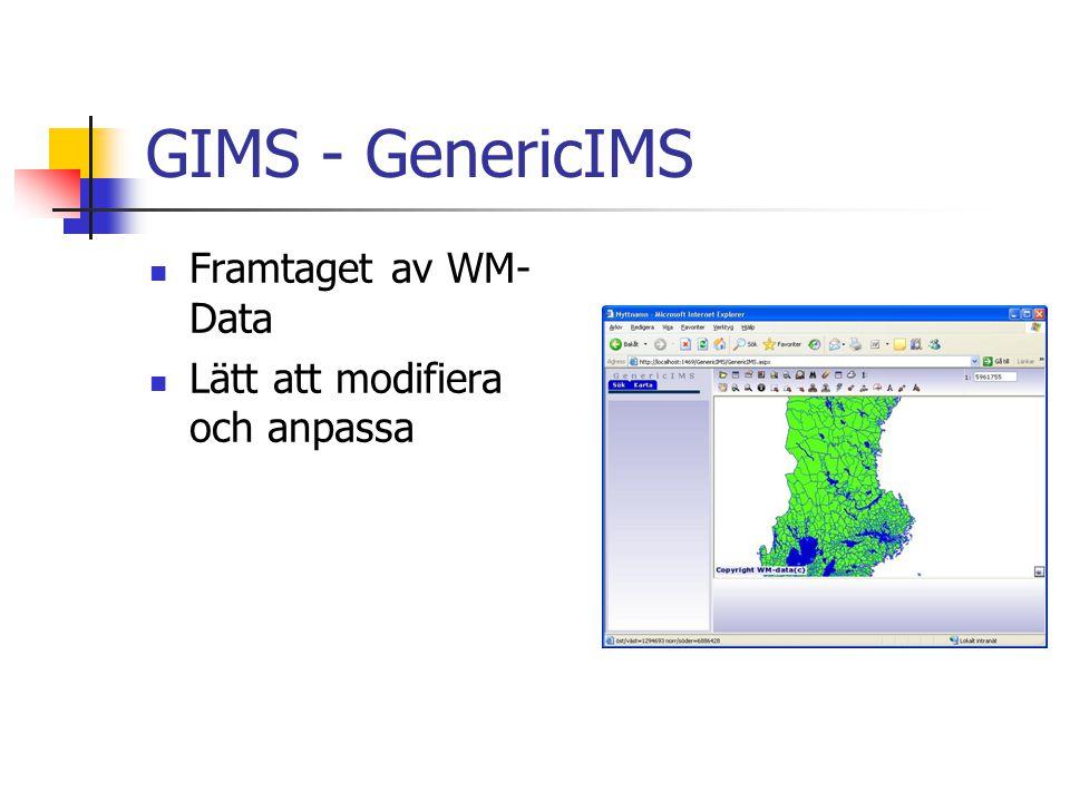 GIMS - GenericIMS Framtaget av WM- Data Lätt att modifiera och anpassa