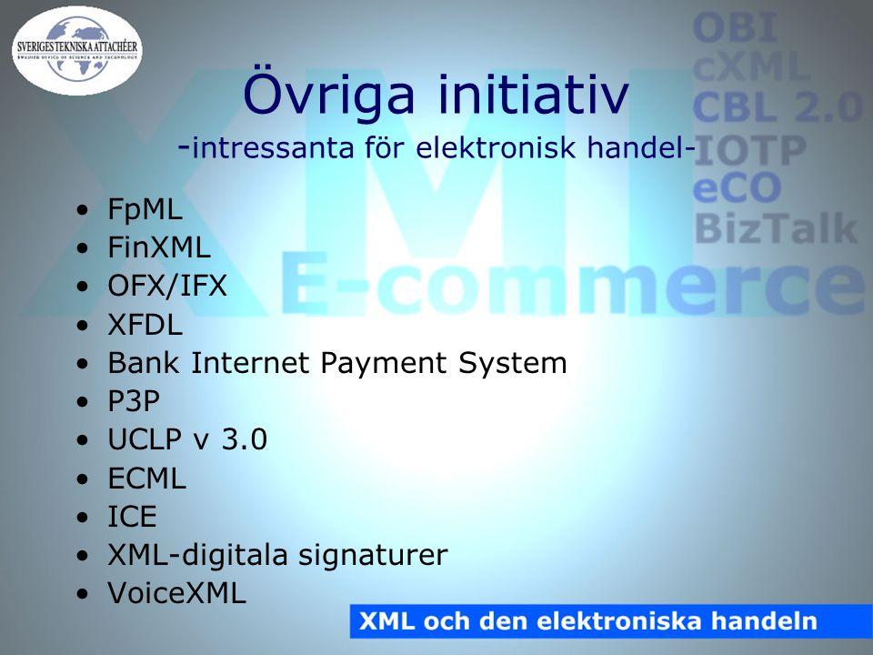 Övriga initiativ - intressanta för elektronisk handel- FpML FinXML OFX/IFX XFDL Bank Internet Payment System P3P UCLP v 3.0 ECML ICE XML-digitala signaturer VoiceXML